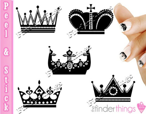 Queen and Princess Crown Nail Art Decal Sticker Set - The FinderThings