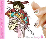 Japanese Geisha Skull and Kimono Nail Art Decal Sticker Set - The FinderThings