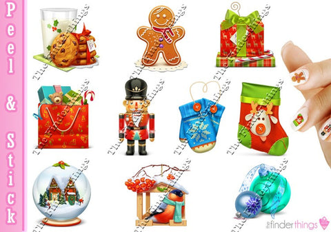 Christmas Gingerbread Man and Snow Globe Variety Nail Art Decal Sticker Set
