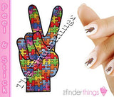 Autism Awareness Ribbon Puzzle Piece Nail Art Decal Sticker Set - The FinderThings