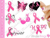 Breast Cancer Awareness Ribbon Support Nail Art Decal Sticker Set - The FinderThings