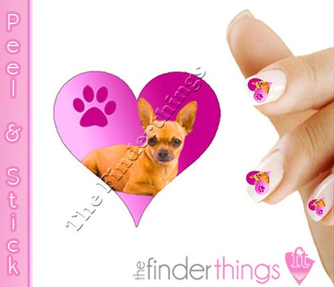 Chihuahua Puppy Love Heart Nail Art Decal Sticker Set
