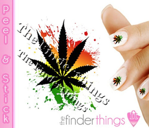 Pot Leaf Weed Nail Art Decal Sticker Set