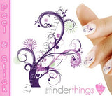 Purple Flourish Swirl Flower Nail Art Decal Sticker Set - The FinderThings