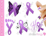 Relay for Life Purple Ribbon Support Nail Art Decal Sticker Set