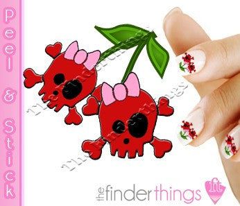 Cherry Skulls and Fruit Nail Art Decal Sticker Set - The FinderThings