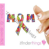 Autism Awareness Mom Ribbon Puzzle Piece Nail Art Decal Sticker Set