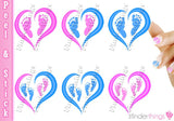 Pregnancy Loss Ribbon Heart and Baby Feet Nail Art Decal Sticker Set