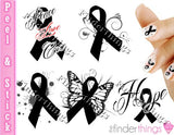 Melanoma Skin Cancer Ribbon Support Nail Art Decal Sticker Set - The FinderThings