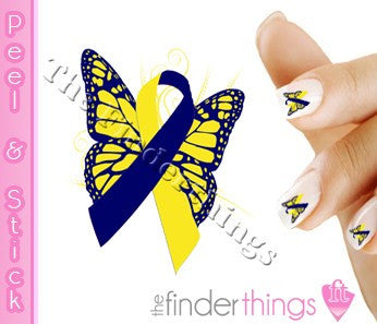 Down Syndrome Support Ribbon Butterfly Nail Art Decal Sticker Set - The FinderThings