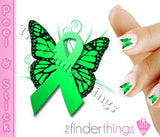 Non Hodgkin Lymphoma Ribbon Butterfly Support Nail Art Decal Sticker Set