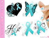 Ovarian Cancer and Cervical Cancer Teal Ribbon Support Nail Art Decal Sticker Set