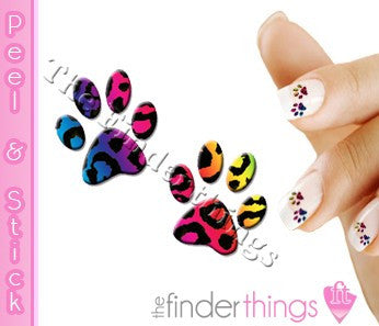 Rainbow Leopard Print Paw Nail Art Decal Sticker Set - The FinderThings