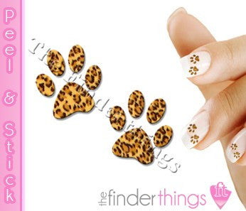 Leopard Print Paw Nail Art Decal Sticker Set