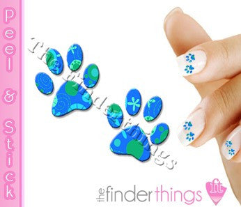 Blue Paisley Paw Print Nail Art Decal Sticker Set - The FinderThings
