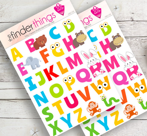 ABC Letters and Animals Stickers for Scrapbook, Planners, and Fun - The FinderThings