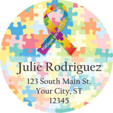 Autism Awareness Support Ribbon Puzzle Personalized Return Address Labels