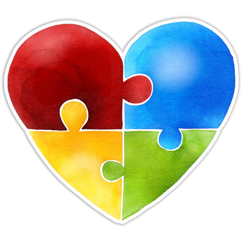 Autism Awareness Puzzle Piece Heart Bumper Sticker - The FinderThings