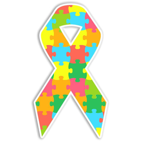 Autism Awareness Puzzle Piece Ribbon Bumper Sticker - The FinderThings