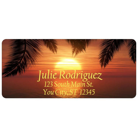 Beach Sunset Palm Tree Island Ocean Water Personalized Return Address Labels - The FinderThings