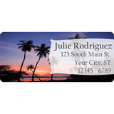 Beach Palm Trees Personalized Return Address Labels at Sunset - The FinderThings