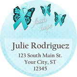Ovarian Cancer Awareness Teal Blue Ribbon Butterfly Personalized Return Address Labels - The FinderThings