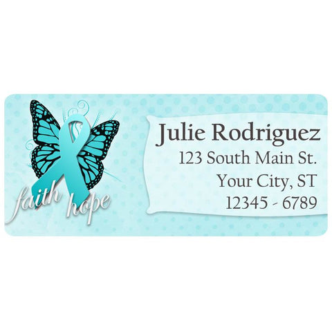 Ovarian Cancer Awareness Teal Blue Ribbon Butterfly Personalized Return Address Labels
