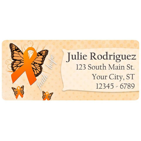 Multiple Sclerosis Awareness Orange Ribbon Personalized Return Address Labels - The FinderThings