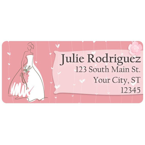 Wedding Dress Bride Bridal Gown Marriage Personalized Return Address Labels - The FinderThings