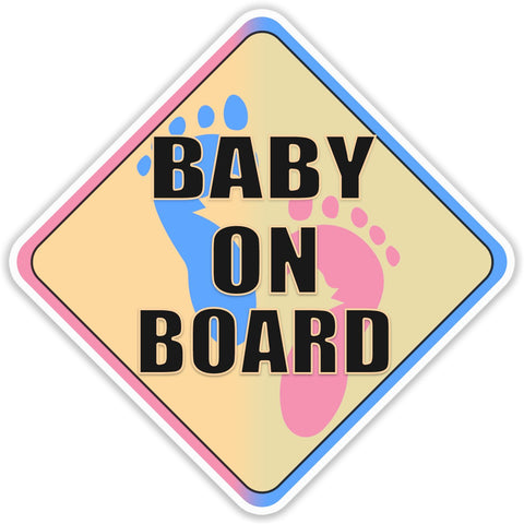 Baby on Board Blue and Pink Bumper Sticker - The FinderThings