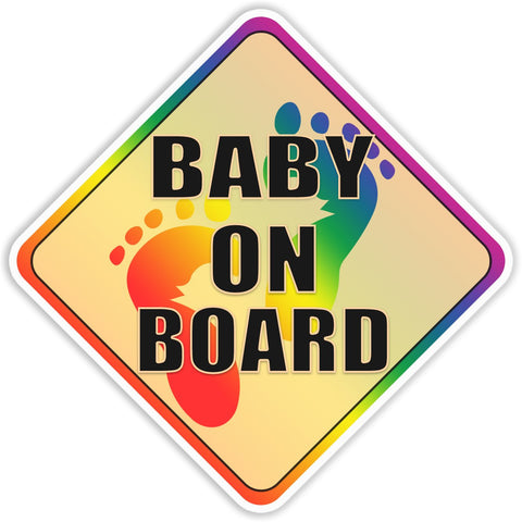 Baby on Board Rainbow Bumper Sticker - The FinderThings