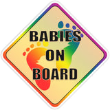 Babies on Board Rainbow Bumper Sticker - The FinderThings