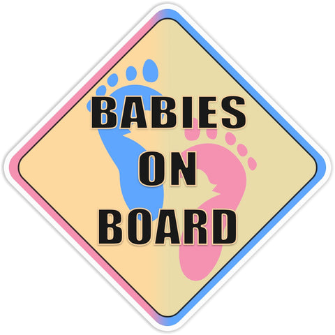 Babies on Board Blue and Pink Bumper Sticker - The FinderThings