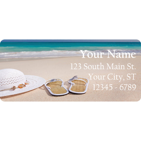 Beach Summer Hat Flip Flops Personalized Return Address Labels Ocean and Sea - The FinderThings
