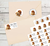 Bordeaux Dog Personalized Return Address Labels Cute Dog with Glasses - The FinderThings