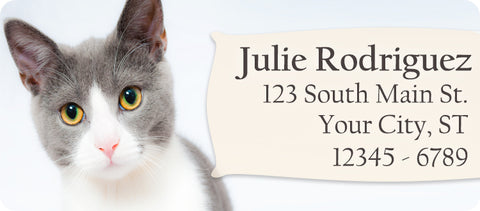Cat Personalized Return Address Labels Grey and White Short Hair Cat - The FinderThings