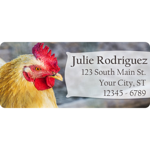 Rooster Personalized Return Address Labels Chicken Farm Animals - The FinderThings
