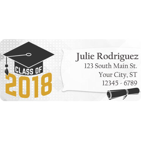 Class of 2018 Graduation Gold Colors Personalized Return Address Labels