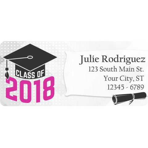 Class of 2018 Graduation Pink Colors Personalized Return Address Labels