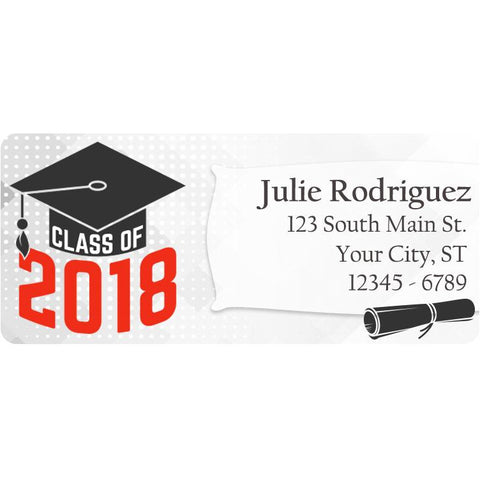 Class of 2018 Graduation Red Colors Personalized Return Address Labels