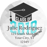 Class of 2018 Graduation Teal Colors Personalized Return Address Labels
