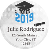 Class of 2019 Graduation Blue Colors Personalized Return Address Labels - The FinderThings