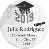 Class of 2019 Graduation Grey Colors Personalized Return Address Labels - The FinderThings