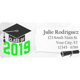 Class of 2019 Graduation Green Colors Personalized Return Address Labels - The FinderThings