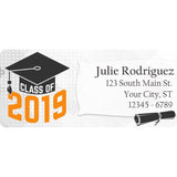 Class of 2019 Graduation Orange Colors Personalized Return Address Labels - The FinderThings