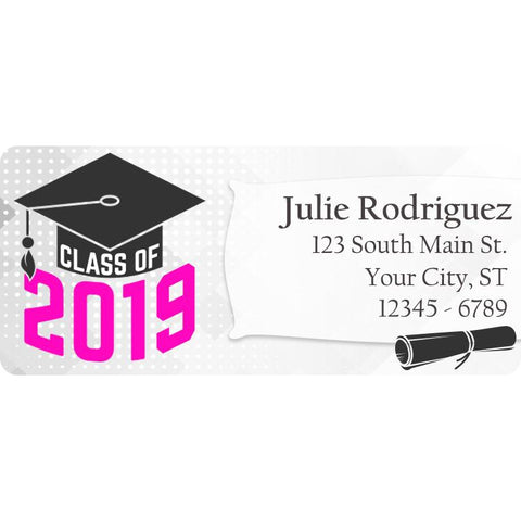 Class of 2019 Graduation Pink Colors Personalized Return Address Labels - The FinderThings