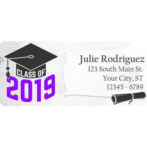 Class of 2019 Graduation Purple Colors Personalized Return Address Labels - The FinderThings