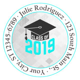 Class of 2019 Graduation Teal Colors Personalized Return Address Labels - The FinderThings