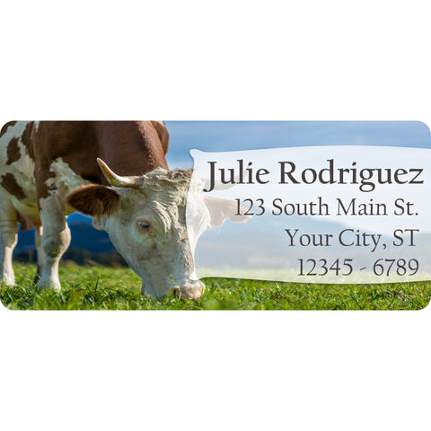 Cow Personalized Return Address Labels Bull and Cow Farm Animals - The FinderThings