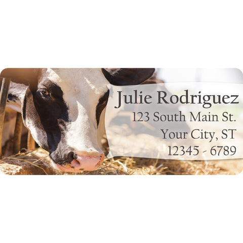 Cow Personalized Return Address Labels Bull and Cow Feeding on the Farm - The FinderThings